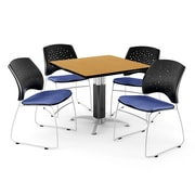 "OFM™ 36"" Square Oak Laminate Multi-Purpose Table With 4 Chairs, Colonial Blue"