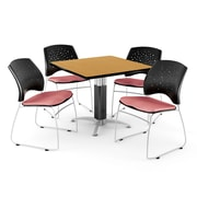 """OFM™ 42"""" Square Oak Laminate Multi-Purpose Table With 4 Chairs, Coral Pink"""
