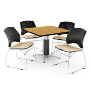 "OFM™ 36"" Square Oak Laminate Multi-Purpose Table With 4 Chairs, Khaki"