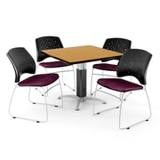 """OFM™ 42"""" Square Oak Laminate Multi-Purpose Table With 4 Chairs, Burgundy"""