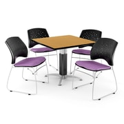 """OFM™ 42"""" Square Oak Laminate Multi-Purpose Table With 4 Chairs, Plum"""