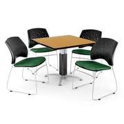 "OFM™ 36"" Square Oak Laminate Multi-Purpose Table With 4 Chairs, Forest Green"