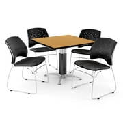 "OFM™ 36"" Square Oak Laminate Multi-Purpose Table With 4 Chairs, Black"