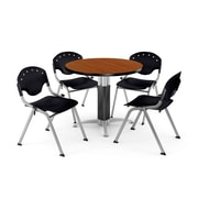 "OFM™ 42"" Round Cherry Laminate Multi-Purpose Table With 4 Rico Chairs, Black"