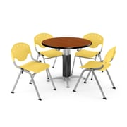"""OFM™ 36"""" Round Cherry Laminate Multi-Purpose Table With 4 Rico Chairs, Lemon Yellow"""