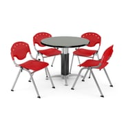 """OFM™ 36"""" Round Gray Nebula Laminate Multi-Purpose Table With 4 Rico Chairs, Red"""