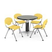 OFM™ 42 Round Gray Nebula Laminate Multi-Purpose Table With 4 Rico Chairs, Lemon Yellow
