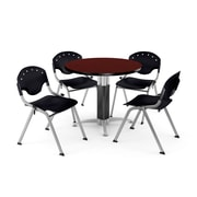 "OFM™ 42"" Round Mahogany Laminate Multi-Purpose Table With 4 Rico Chairs, Black"