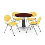 "OFM™ 36"" Round Mahogany Laminate Multi-Purpose Table With 4 Rico Chairs, Lemon Yellow"