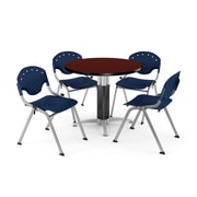 """OFM™ 42"""" Round Mahogany Laminate Multi-Purpose Table With 4 Rico Chairs, Navy"""