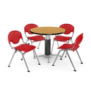 """OFM™ 36"""" Round Oak Laminate Multi-Purpose Table With 4 Rico Chairs, Red"""