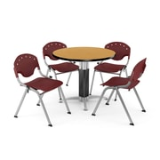 OFM™ 42 Round Oak Laminate Multi-Purpose Table With 4 Rico Chairs, Burgundy