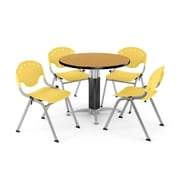 OFM™ 42 Round Oak Laminate Multi-Purpose Table With 4 Rico Chairs, Lemon Yellow