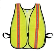 "Mutual Industries MiViz Soft Mesh Safety Vest With 1 1/2"" Orange/Silver/Orange Reflective, Lime"