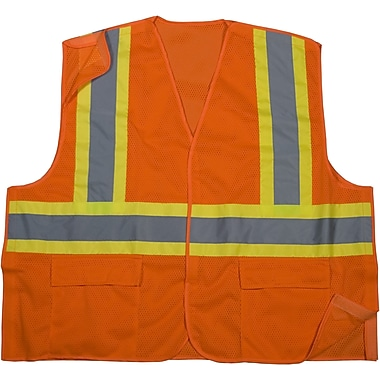 Mutual Industries MiViz ANSI Class 2 Mesh Tearaway Safety Vest With Pockets, Orange, Medium