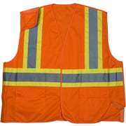 Mutual Industries MiViz Orange ANSI Class 2 Solid Tearaway Safety Vests With Pockets