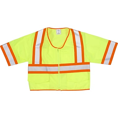 Mutual Industries MiViz ANSI Class 3 High Visibility Solid Safety Vest With Pockets, Lime, Medium