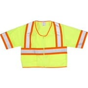 Mutual Industries MiViz ANSI Class 3 High Visibility Solid Safety Vest With Pockets, Lime, XL