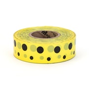 "Mutual Industries Ultra Standard Flagging Tape, 1 3/16"" x 100 yds., Yellow/Black Dot"