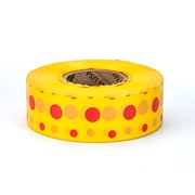 Mutual Industries Ultra Standard Flagging Tape, 1 3/16 x 100 yds., Yellow/Red Dot