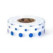 "Mutual Industries Ultra Standard Flagging Tape, 1 3/16"" x 100 yds., Blue/White Dot"