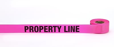 Mutual Industries Property Line Printed Flagging Tape 1 1 2 x 50 yds. Glo Pink