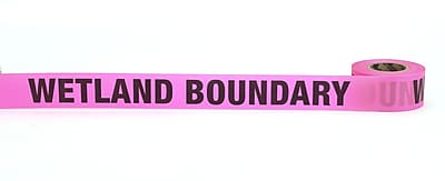 Mutual Industries Wetland Boundary Printed Flagging Tape 1 1 2 x 50 yds. Glo Pink