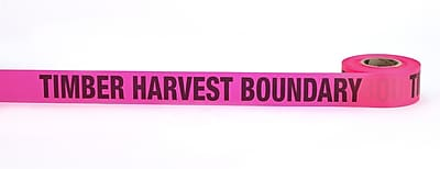 Mutual Industries Timber Harvest Boundary Printed Flagging Tape 1 1 2 x 50 yds. Glo Pink