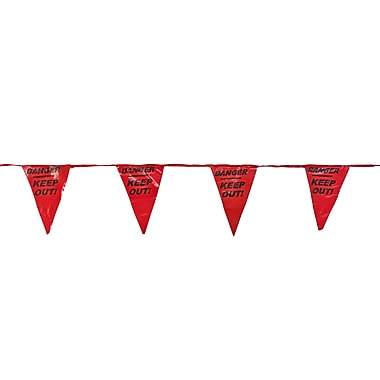 Mutual Industries Pennant Flag With Legend, 60', Red