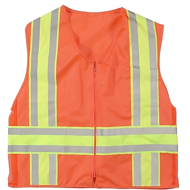 Mutual Industries MiViz ANSI Class 2 High Visibility Solid Deluxe Dot Safety Vest, Orange, 4XL