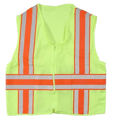 Mutual Industries MiViz ANSI Class 2 Deluxe Dot Mesh Safety Vest With Pockets, Lime, Large