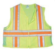 Mutual Industries MiViz ANSI Class 2 Deluxe Dot Mesh Safety Vest With Pockets, Lime, XL