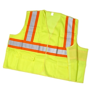 Mutual Industries MiViz ANSI Class 2 Solid Tearaway Safety Vest With Pockets, Lime, XL