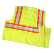 Mutual Industries MiViz ANSI Class 2 Solid Tearaway Safety Vest With Pockets, Lime, Large