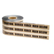 Mutual Industries Force Main Underground Detectable Tape, 6 x 1000', Brown