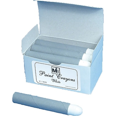 Mutual Industries Paint Crayons, White, 12/Box