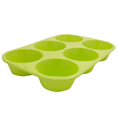 Marathon Management Silicone Muffin Pan, Green, Standard 6-Cup