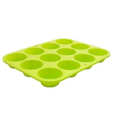 Marathon Management Silicone Mini Muffin Pan, Green, 12-Cup