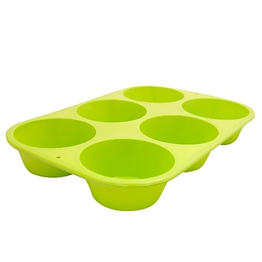 Marathon Management Silicone Jumbo Muffin Pan, Green, 6-Cup