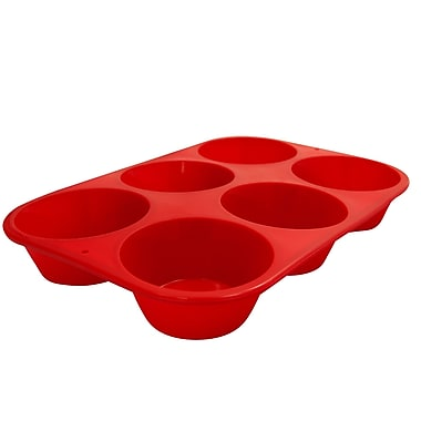 Marathon Management Silicone Jumbo Muffin Pan, Red, 6-Cup