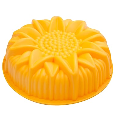 Marathon Management Premium Silicone Sunflower Cake Pan, Yellow