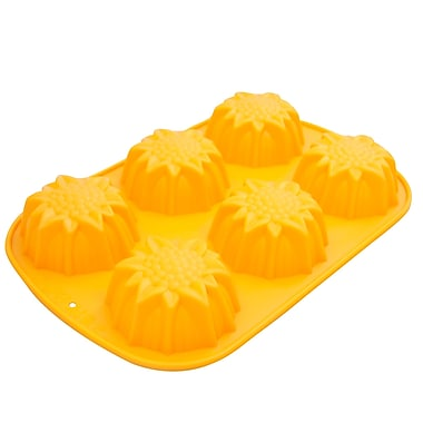 Marathon Management Premium Silicone 6-Cup Sunflower Muffin or Cupcake Pan, Yellow