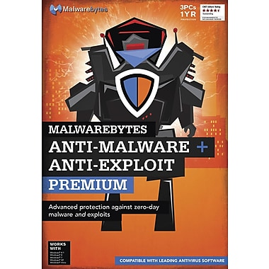 Anti-Malware and Anti-Exploit Premium, 3 PCs for 1-Year Subscription, Bilingual