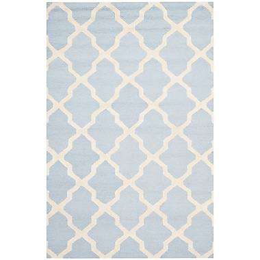 Safavieh Zoey Cambridge Light Blue/Ivory Wool Pile Area Rugs
