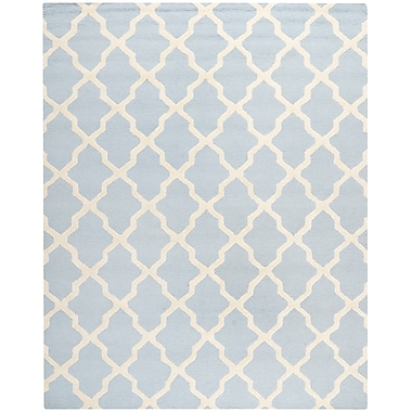 Safavieh Zoey Cambridge Wool Pile Area Rug, Light Blue/Ivory, 9' x 12'