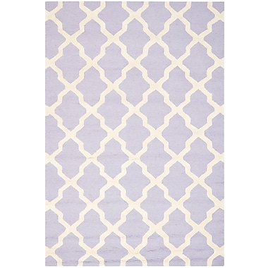 Safavieh Zoey Cambridge Wool Pile Area Rug, Lavender/Ivory, 6' x 9'