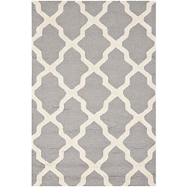Safavieh Zoey Cambridge Wool Pile Area Rug, Silver/Ivory, 4' x 6'