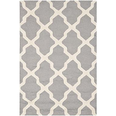 Safavieh Zoey Cambridge Wool Pile Area Rug, Silver/Ivory, 3' x 5'