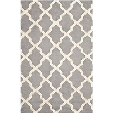Safavieh Zoey Cambridge Wool Pile Area Rug, Silver/Ivory, 5' x 8'