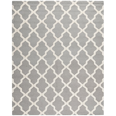 Safavieh Zoey Cambridge Wool Pile Area Rug, Silver/Ivory, 9' x 12'
